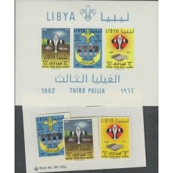 O) 1962 LIBYA - AFRICA, SCOUTS, COAT, SET AND SOUVENIR MNH
