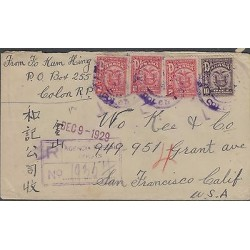 o) 1929 PANAMA, CHINESE CORRESPONDANCE, CERTIFIED MAIL TO SAN FRANCISCO CA, XF