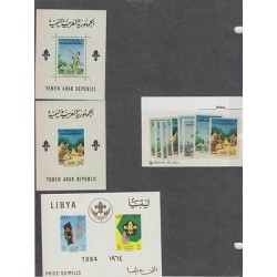 o) 1964 YEMEN, SCOUTS, CAMP, FLAG, COAT, SET IMPERFORATE MNH