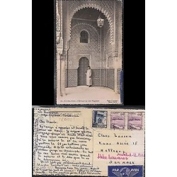 E) 1950 MOROCCO, POST CARD FROM CASABLANCA TO DANEMARK WITH MOUSQUE STAMP