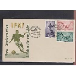 o) 1961 SPAIN, FOOTBALL, JUMP BAR - HIGH JUMP, GAMES INFI, FDC XF