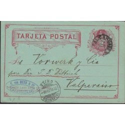 O) 1888 CHILE, POSTAL STATIONARY TALCAHUANO, 2 CENTAVOS COLON RED, XF