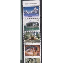 E)2007 NEPAL, TOURIST SITIES IN NEPAL, MOUNT ABI, TEMPLES, HOUSES, S/S, MNH