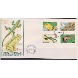 E)1980 MONTSERRAT, ANIMALS, FROGS AND LIZARDS, REPTILES, FDC