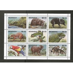 O) 1995 NICARAGUA, ANIMAL LIFE, HABITAT, MINI SHEET, MNH.