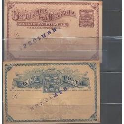 o) 1890 NICARAGUA, POSTAL STATIONARY - SPECIMEN, 2 CENTAVOS BROWN, 3 CENTAVOS BL