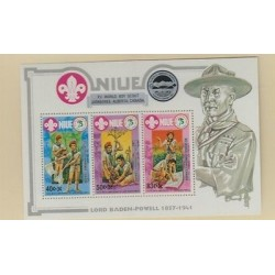 O) 1983 NIUE, SCOUTS, FOUNDER OF WORLD SCOUT MOVEMENT BADEN POWELL, XV WORLD BOY