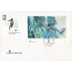 G)1994 ARGENTINA, WORLDCUP USA 94, LIBERTY STATUE-FOOTBALL PLAYERS, FDC, XF