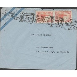 O) 1953 ARGENTINA, OIL WELL ON THE SEA, COVER TO SOLVAY-UNITED STATES, F