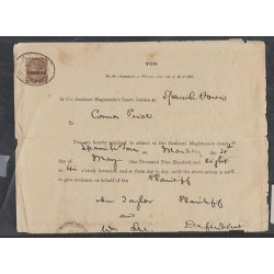 O) 1887 JAMAICA, CARIBE, JUDICIARY DOCUMENT WITH 1 SHILLING BROWN