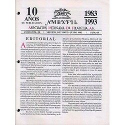 G)1993 MEXICO, AMEXFIL MAGAZINE, SPECIALIZED IN MEXICAN STAMPS, YEAR 10 VOL. 10-