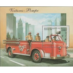 O) 1998 BENIN, FIRE BOMBER CAR ENGINE, SOUVENIR MNH