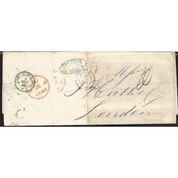 E)1848 FRANCE, MARITIME MAIL, PARIS TO LONDON WITH TRANSIT MARKS, F