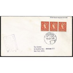 E)1955 DENMARK, QUEEN ELIZABETH II, STRIP OF 3 RED, CIRCULATED COVER TO USA, XF
