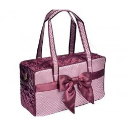 Cute traveling bag, Satin fabric, with a cute ribbon and two interior pockets