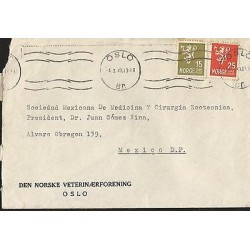 E)1949 NORWAY, LION RAMPANT, STRIP OF 2, CIRCULATED COVER TO MEXICO