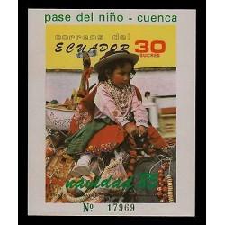 E)1985 ECUADOR, PASS THE CHILD, CHRISTMAS, CUENCA, PHOTOGRAPH, MNH