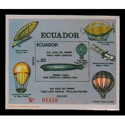 E)1983 ECUADOR, 200TH ANNIVERSARY OF THE FIRST FLIGHT AEROSPACE, GRAF ZAPPELIN