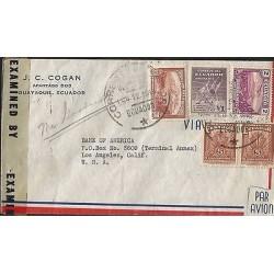 E)1943 ECUADOR, BOLIVARIANA COMMEMORATING FIRST OLYMPICS, VOLCANO CHIMBORAZO