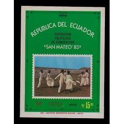 E)1983 ECUADOR, PHILATELIC EXHIBITION EMERALDS, SAINT MATTHEW, PEOPLE, MNH