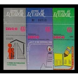 E)1990 ECUADOR, INCE, V CENSUS OF POPULATION AND HOUSING, PEOPLE, MNH
