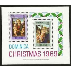 E)1969 DOMINICA, RELIGION, CHRISTMAS, NATIVITY, PAINTINGS, SOUVENIR SHEET, MNH