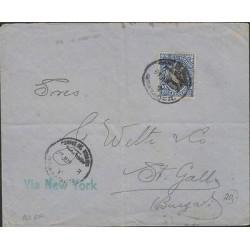 O) 1911 ECUADOR, PRESIDENT - WRITER - GARCIA MORENO, COVER TO SWITZERLAND, XF