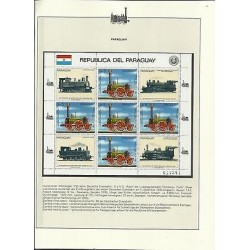 o) 1985 PARAGUAY, LOCOMOTIVE FIRST TRAIN ALEMAN 1835, BLOCK MNH