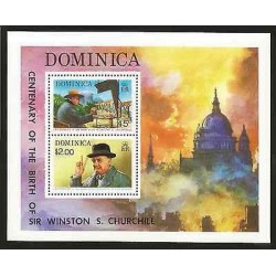 E)1974 DOMINICA, CENTENARY OF THE BIRTH OF SIR WINSTON CHURCHILL, PAITINGS,