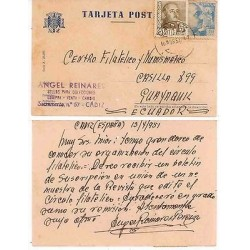 E) 1957 SPAIN, PHILATELIC AND NUMISMATIC CENTER, TO ECUADOR POST CARD