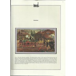 O) 1985 PARAGUAY, LOCOMOTIVE -PAINTING INAUGURATION OF THE FIRST TRAIN ALEMAN DE