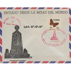 "G)1977 ECUADOR, EQUATORIAL MONUMENT-BUTERFLY, LAT: 0°-0°-0"", COVER FROM THE MIDL"