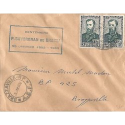 E)1952 FRANCE, PIERRE SAVORGNAN DE BRAZZA, STRIP OF 2. CIRCULATED COVER
