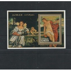 O) 1971 AJMAN, RENAISSANCE PERIOD, PAINTING PROFANE LOVE - TIZIANO, SOUVENIR MNH