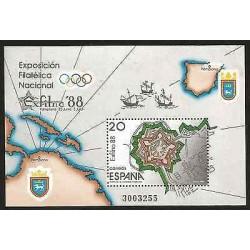 E)1988 SPAIN, NATIONAL PHILATELIC EXHIBITION, EXFILNA, OlYMPICS, MAP