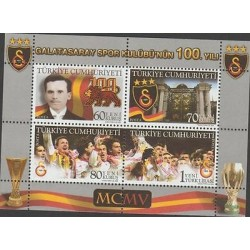 O) 2005 TURKEY, FOOTBALL, CLUB GALATASARAY SPOR, SOUVENIR MNH