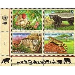 E) 2002 UNITED NATIONS, ENDANGERED ANIMALS, MONKEY, CAMALEON, BLOCK OF FOUR