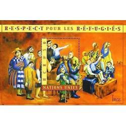 E) 2000 UNITED NATIONS, RESPECT FOR REFUGEES, MURAL, SOUVENIR SHEET