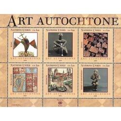 E) 2004 UNITED NATIONS, ART AUTOCHTONE, EUROPE EDITION, SOUVENIR SHEET
