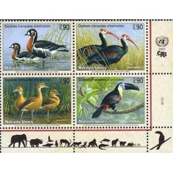 E) 2003 UNITED NATIONS, BIRDS, ENDANGERED ANIMALS, TUCAN, BLOCK OF FOUR