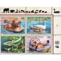 E) 2000 UNITED NATIONS, ENDANGERED ANIMALS, HIPPO, DUCK, BLOCK OF FOUR
