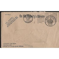E)1945 GREAT BRITAIN, OHMS POST OFFICE WAR ECONOMY COVER, XF