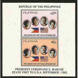 E)1982 PHILIPPINES,PRESIDENT MARCOS STATE TO USA, JOINT ISSUE, SOUVENIR SHEET,
