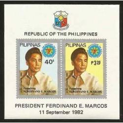 E)1982 PHILIPPINES,PRESIDENT FERDINAND MARCOS, PORTRAIT, SHIELD, SOUVENIR SHEET