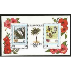 E)1990 FIJI, STAMP WORLD LONDON, FLOWERS, PALMS, BIRDS, HERON, SOUVENIR SHEET,