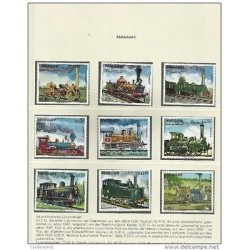 O) 1972 PARAGUAY, LOCOMOTIVE FROM 1829 TO 1924 OF THE WORLD, SET MNH