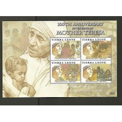 O) 2010 SIERRA LEONE-AFRICA, 100TH ANNIVERSARY, MOTHER TERESA OF CALCUTA, SOUVEN