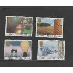 O) 1986 GREAT BRITAIN, ENERGY, PENCE, INDUSTRY YEAR, SET MNH