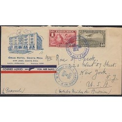C) 1935 COSTARICA COFFEE, 1 COLON RED AND 40 AIRPLANE GREEN TO USA, GRAN HOTEL