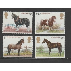 O) 1987 GREAT BRITAIN, FINA RACE HORSES, SET MNH